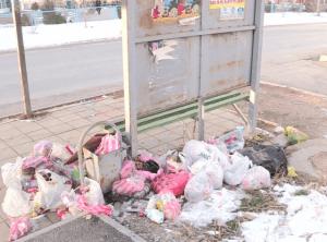 Стихийная мусорка на остановке