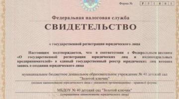 Свидетельство о гос. регистрации юр. лица