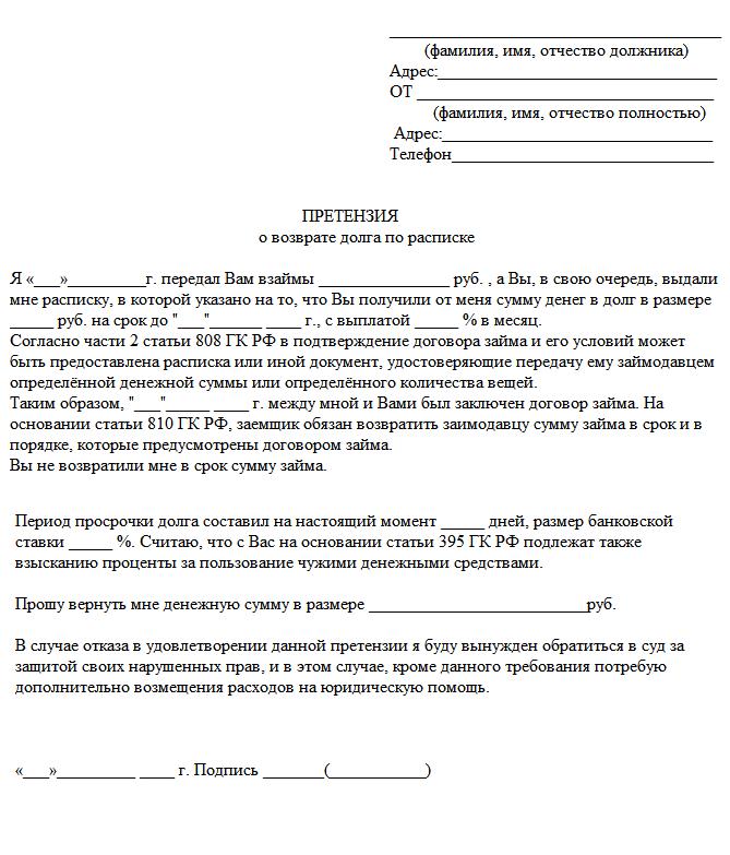 Пример документа, претензия о возврате долга по расписке