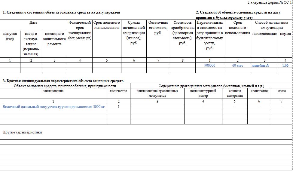 Вторая страница формы ОС-1